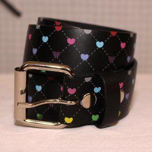 Black faux leather hearts belt